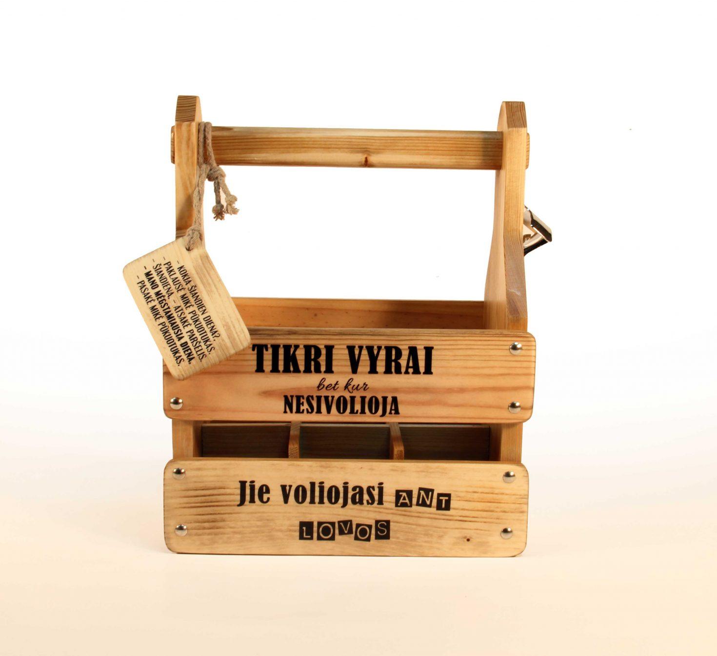 Dovana Tikram Vyrui butelių dėžutė su tekstu