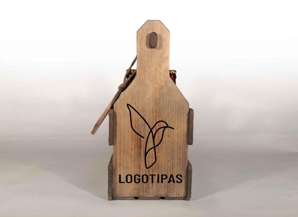 Medinės dėžės alui su logotipu