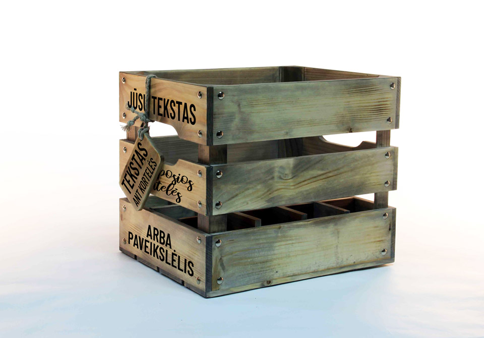 wood beer crate with logo 12 bottles
